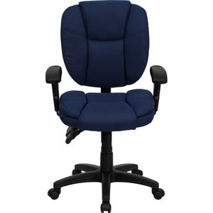 Flash Furniture Mid Back Ergonomic Task Office Chair with Arms in Navy Blue