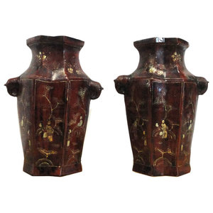 Chinese Brown Lacquer Golden Scenery Vases, 2-Piece Set