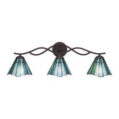 "Revo 3 Light Bath Bar, Dark Granite Finish, With 7"" Sea Ice Tiffany Glass"