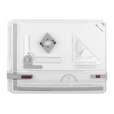 Modern Drawing Board, Plastic With 2 Parallel Rulers and 2 Corner Clips