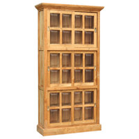 Waxed Teak Wood Riviera Bookcase With Sliding Glass Doors