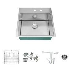 "Transolid Diamond 23""x22"" Single Bowl Dual-Mount Sink Kit, Stainless Steel"