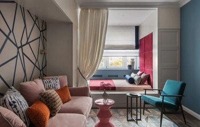 Houzz тур: Квартира с кухней в 6 кв.м и яркими дверными проёмами