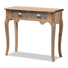 Isha French Provincial Natural Brown Wood And Metal 2-Drawer Console Table