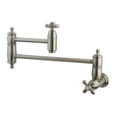 Kingston Brass - Restoration Wall Mount Pot Filler Kitchen Faucet, Brushed Nickel - Pot Fillers