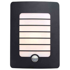 Stanley Castille Outdoor Rectangular Wall Light With PIR Sensor, Black