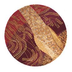 "New Wave Hand-Tufted Rug, Burgandy, 7'9""x7'9"" Round"