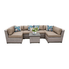 Florence 7 Piece Outdoor Wicker Patio Furniture Set, Wheat