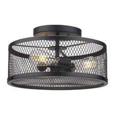 Brikk - Yarn Industrial Drum Ceiling Light - Flush-mount Ceiling Lighting