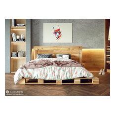 Pallet Bed Platform Frame and Headboard, Oversize Queen SIze