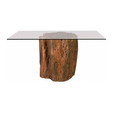 50-inchW Taio Dining Table Exotic Mai Theng Wood Base Square Glass Top