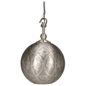 Sahar Copper-Galvanised Steel Hook Pendant With Matte Nickel Finish, Small