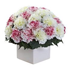 Carnation Arrangement With Vase, Mauve and White