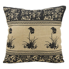 Mina Victory Life Styles Three Black Flowers Natural Throw Pillow