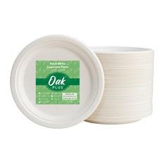"Oak PLUS Sugarcane Plates, 300 Pack, White, 9"""