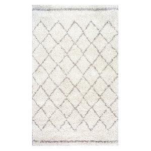 "Moroccan Trellis Shag Natural Rug, Natural, 7'6""x9'6"""