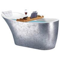 "64"" Freestanding Modern Acrylic Glossy silver Soaking Tub"