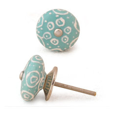 Knobco - Ceramic Knobs, White With Dark Sea Green Base, Set of 3 - Cabinet and Drawer Knobs