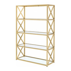48-inch X 14-inch X 77-inch Clear Glass And Gold Bookcase