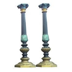 Mogul Interior - Antique Pair Architectural India Carved Brass Candle Stands Holder - Candleholders