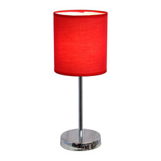 living room bedroom chrome basic table lamp with red shade table. Black Bedroom Furniture Sets. Home Design Ideas