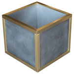 """Custom Metal Home - Zinc and Brass Planters, Seamless, 16""""x16""""15"""" - At Custom Metal Home, we are committed to fabricating high-end commercial and residential planters for lively indoor and outdoor spaces. We use 16 gauge Zinc which will withstand the extreme wear and tear of everyday weather exposure, preserving your investment for many years to come. Zinc planters are also ideal indoors for homeowners who have modern kitchens with clean, crisp lines and modern appliances."""