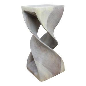 "Haussmann Bar Counter Stool Double Twist 12""x26"", Agate Gray Oil"