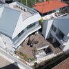 三浦半島を望む屋上テラスとウッドデッキ付き、広い地下室で繋がる二世帯住宅