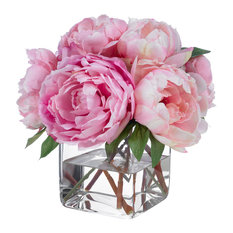 Diane James Home Pink Champagne Peonies Artificial Flower Arrangements