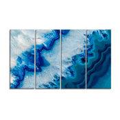 """Geode Slice Macro"" Abstract Digital Metal Wall Art, 4 Panels, 48""x28"""