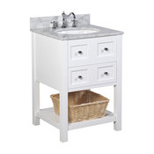 "New Yorker Bath Vanity, Base: White, 24"", Top: Carrara Marble"