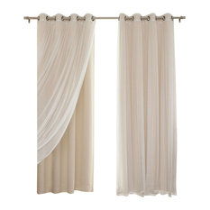 """Gathered Tulle Sheer and Blackout 4-Piece Curtain Set, Beige, 96"""""""