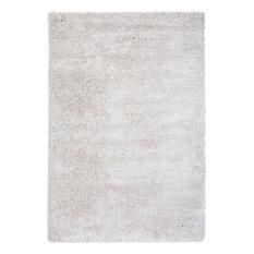 "Rectangle Abacasa Comfort Shag Area Rug, White, 93""x126"""