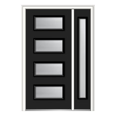 "Clear 4-Lite Fiberglass Smooth Door With Sidelite, 53""x81.75"", LH In-Swing"