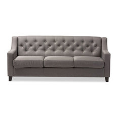 Baxton Studio - Arcadia Fabric Upholstered Button-Tufted Living Room 3-Seater Sofa, Gray - Sofas