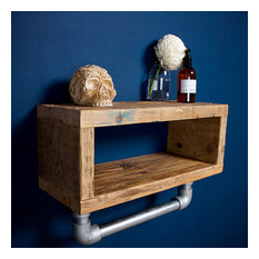Reclaimed Bathroom Shelf with Pipe Rail