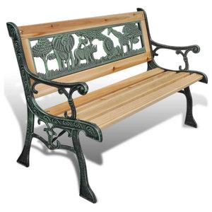 vidaXL Home Garden Bench for Children Animal Pattern, 80x24 cm