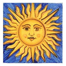 """Sun Square Tile, San Donato, Made in Castelli, Italy, 2.4""""x2.4"""""""