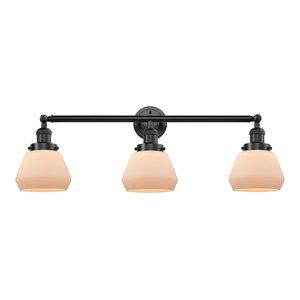 Fulton 3-Light LED Bath Fixture, Oil Rubbed Bronze, Glass: Matte White Cased
