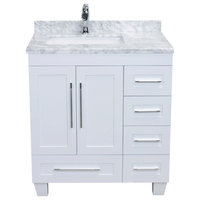 "Eviva Loon 30"" White Transitional Bathroom Vanity With White Carrara Marble"