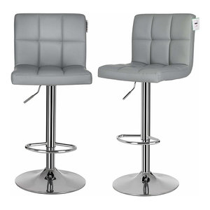 Modern Set of 2 Bar Stools Upholstered, Faux Leather, Chrome Plated Base, Grey