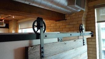 Architects Home - Custom Sliding Barn Door with 6 inch Spoke Barn Door Hardware