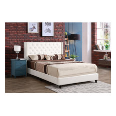 Bowman Upholstered Faux Leather Bed, White, King