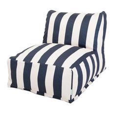 "Outdoor Vertical Stripe Bean Bag Chair Lounger, Navy Blue, 27"" L X 36"" W X 24"" H"
