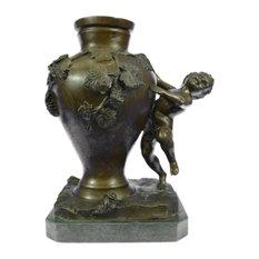 Auguste Moreau French Figural Bronze Cherub Vase Art Nouveau Deco Figurine Decor