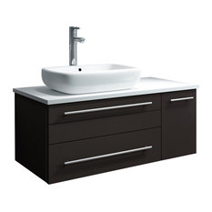 Lucera Wall Hung Bathroom Cabinet With Top And Vessel Sink Espresso Left