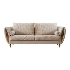European Furniture Sipario Vita Modern Burgundy Sofa  Beige