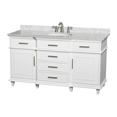 "60"" Single Bathroom Vanity in White w/ White Carrera Marble Top, Undermount Sink"