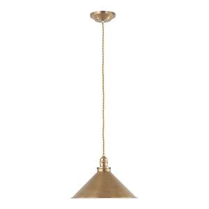 Mild Steel 1-Light Pendant, Aged Brass