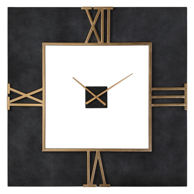 Oversize Black Concrete Square Wall Clock Gold Open Mid Cent Modern Industrial